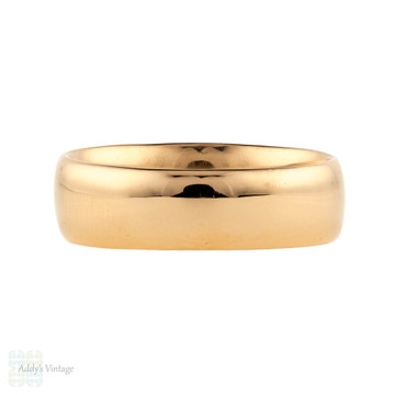 Antique 22ct Wedding Ring, Ladies Heavy Wide 1910s Art Deco 22k Band, Size N / 6.75.