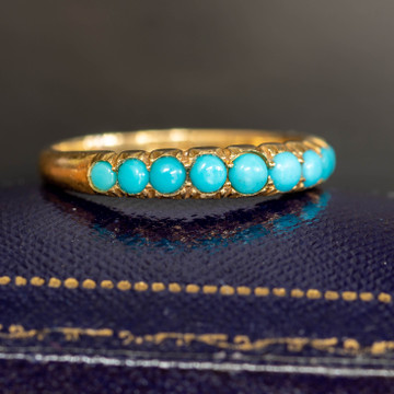 Antique Turquoise 18ct Band, Victorian 9 Stone Graduated 18k Half Hoop Ring.