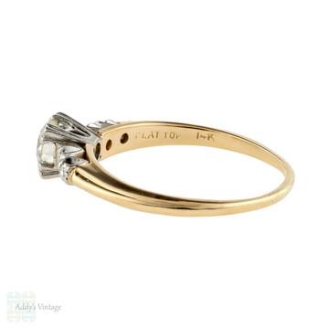 Old European Cut Diamond Engagement Ring, 14K Gold Two-Tone Vintage 1940s Band.
