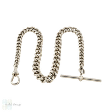 Chunky Antique Sterling Silver Watch Chain, 1910s Hallmarked Wave Curb Link Bracelet or Necklace.