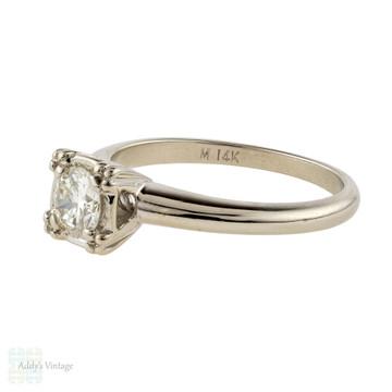 Vintage 1940s 14k Round Brilliant Diamond Solitaire Engagement Ring