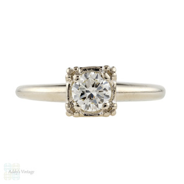 Vintage 1940s 14k Round Brilliant Diamond Solitaire Engagement Ring