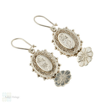 Victorian Floral Dangle Earrings, Antique Sterling Silver Engraved Morning Glory Articulated Drops.