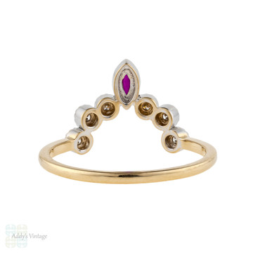 Ruby & Diamond Curved Wedding Band, 14k Gold Art Deco Style Wishbone Chevron Ring.