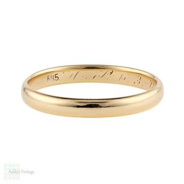 Vintage 14k Yellow Gold Men's Wedding Ring, 14ct 1940s Band Size X / 11.5.