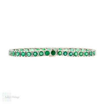 Emerald 18k Line Bracelet, Vintage 18ct White Gold 7ctw Engraved Tennis Bracelet.