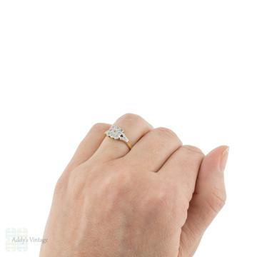 Square Art Deco Diamond Cluster Ring, 1930s Scallop Edged 18ct & Platinum Ring.