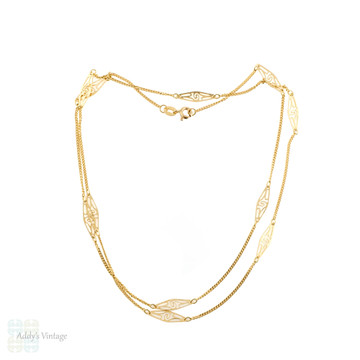 Vintage 14ct Filigree Chain, 14k Yellow Gold Fancy Link Necklace. 61 cm / 24 inches.