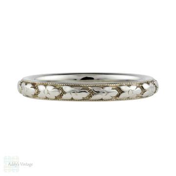 Engraved 18k Orange Blossom Wedding Ring, Vintage Art Deco 18ct Gold Band. Size H.5 / 4.25.