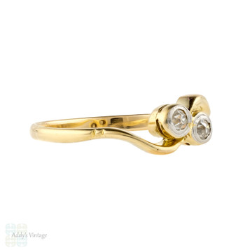 Old Cut Diamond Toi et Moi Twist Ring, 18ct Gold Unique Antique Engagement Ring.