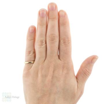 Vintage 9ct Gold Ladies Wedding Ring, 9k Mid 20th Century Utility Band Size I.5 / 4.75