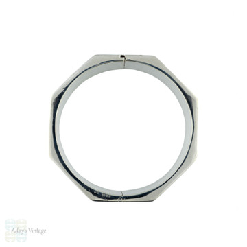 Faceted Vintage Sterling Silver Bangle, Heavy Octagon Shape Bracelet.