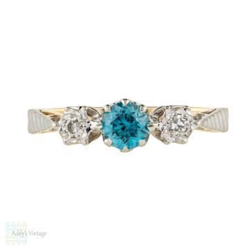 LAYAWAY Blue Zircon & Diamond Three Stone Engagement Ring, Vintage 18ct Gold 1940s Ring.