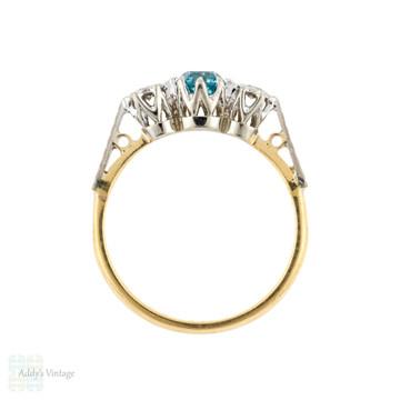 LAYAWAY Blue Zircon & Diamond Three Stone Engagement Ring, Vintage 18ct Gold 1940s Ring.