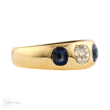 Antique 18ct 18k Gypsy Ring, 0.52ct Old Mine Cut Sapphire & 0.60ctw Blue Sapphires.