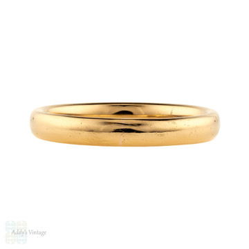 Art Deco 22ct Wedding Ring, Vintage 1920s 22k Gold Mens Band. Size R / 8.75.