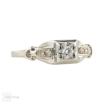 Old Cut Diamond Engagement Ring, Art Deco 18k White Gold Stepped Design.
