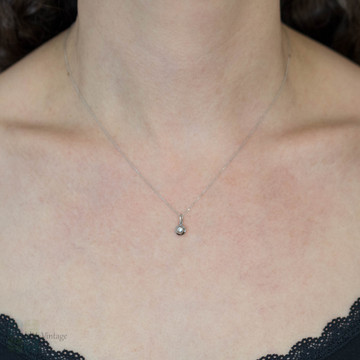 RESERVED 18ct White Gold Diamond Pendant, Fluted Design Dainty 18k Charm.