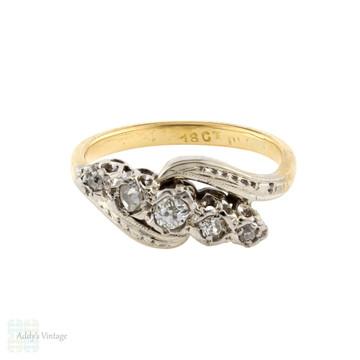 Five Stone Vintage 1930s Diamond Engagement Ring, 18ct Gold & Platinum.