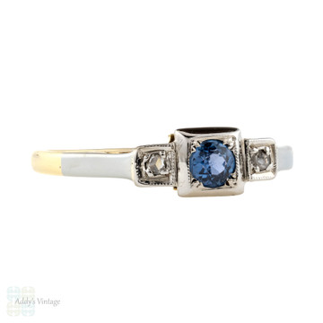 Sapphire & Diamond Vintage Three Stone Engagement Ring, 18ct Gold & Platinum Square Setting.