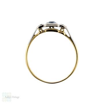 Sapphire & Diamond Vintage Three Stone Engagement Ring, 18ct Gold & Platinum Square Setting.