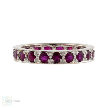 Ruby 18ct Eternity Ring, Vintage Full Hoop 18k White Gold Wedding Band. Size L.5 / 6.
