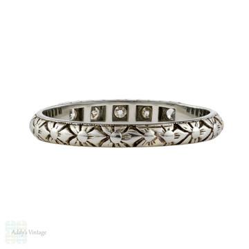 Art Deco Engraved Diamond Wedding Ring, Ladies 18ct White Gold Flower Band. Size L / 5.75.