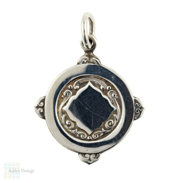 Mid Century Sterling Silver Pendant, Vintage 1950s Large Medal in Original Blue Presentation Box.