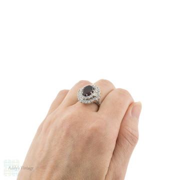 RESERVED Garnet & Diamond Vintage Cocktail Ring, Large Statement 18ct White Gold Dinner Dress Ring.