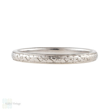 Art Deco Engraved Platinum Wedding Ring, Orange Blossom Flowers Ladies Band. Size I.5 / 4.75.