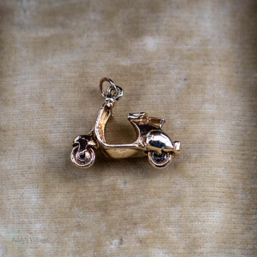 Vintage 9ct Scooter Charm, 1960s 9k Yellow Gold Small Pendant.