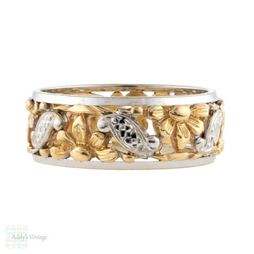 Men's 14k Wide Flower Engraved Wedding Ring, Vintage 14ct Two-Tone Gold Band. Size W / 11.
