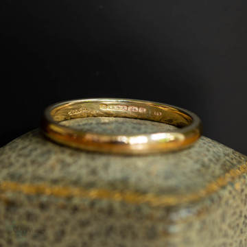 Vintage 9ct Gold Men's Wedding Ring, 9k Mid 20th Century Utility Band Size T / 9.5