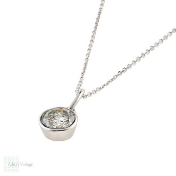 Old European Cut Diamond Pendant, Vintage 18ct 18k White Gold Bezel Set Necklace.