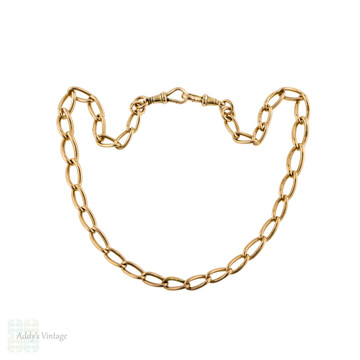 RESERVED LAYAWAY Antique 9ct Rose Gold Chain, 16 inch / 40.5 cm Graduated Curb Link Necklace 31.45g.