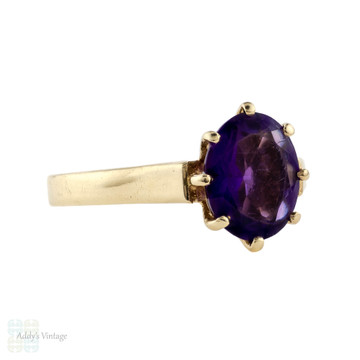 Vintage Amethyst Single Stone Ring, 9ct 9k Yellow Gold Solitaire Circa 1980s.