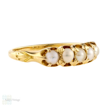 Victorian 5 Stone Cultured Pearl Ring, Antique Half Hoop 18ct 18k Gold Band Circa 1860s.