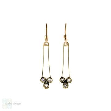 Old Cut Diamond Drop Earrings, 15ct Gold & Platinum Antique Victorian Conversion Dangles.