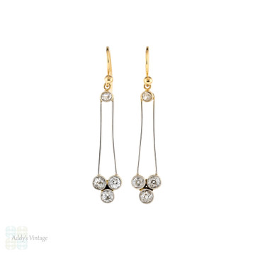 Old Cut Diamond Drop Earrings, 15ct Gold & Platinum Antique Victorian Conversion Dangles.