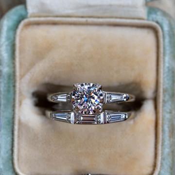 Vintage Round & Baguette Diamond Engagement  & Wedding Ring Set. 1940s Locking Bands.