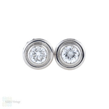 Bezel Set 0.40 ctw Diamond Earrings, Vintage 18ct 18k White Gold Diamond Studs.