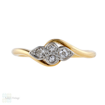 Vintage Twist Design Diamond Engagement Ring, 1930s Four Stone Bypass Style 18ct Gold