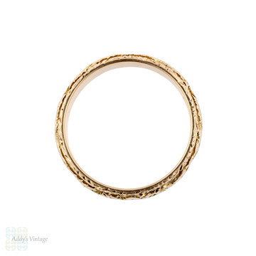 Wide 18ct Engraved Wedding Ring, 1900s Ladies Heart & Flower 18k Yellow Gold. Size N / 6.75.