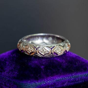 Diamond Platinum Eternity Ring, Mid 20th Century Filigree Wedding Band. Size K / 5.25.