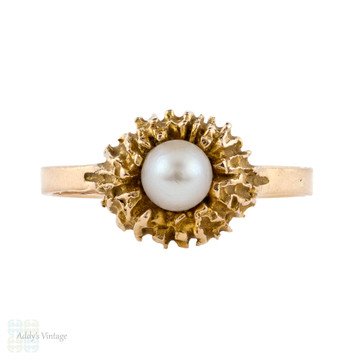 Cultured Pearl 14k Nest Ring, Finnish Vintage 1970s 14ct  Gold Ring.