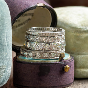 Diamond Eternity Ring, 18ct 18k White Gold Vintage Engraved Wedding Band Size I.5 / 4.75.