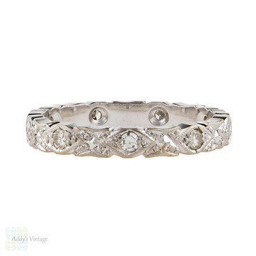 Diamond Eternity Ring, 18ct 18k White Gold Vintage Engraved Wedding Band Size I.5 / 4.75.