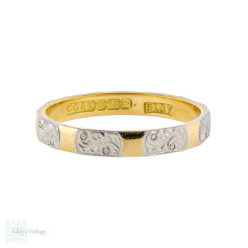 Engraved Vintage 18ct Gold & Platinum Faceted Wedding Ring by Charles Green, Size O / 7.25.