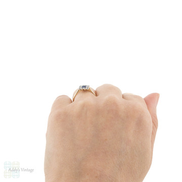 Art Deco French Cut Synethic Sapphire & White Spinel Ring, 9ct Gold & Platinum.