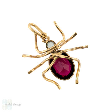 Spider Pendant, Large Antique 9ct Gold Garnet & Aquamarine Paste Bug Charm.